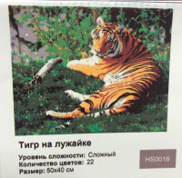 Картина по номерам Тигр на лужайке HS0018