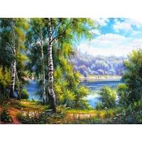 Картина по номерам «Березки у реки»